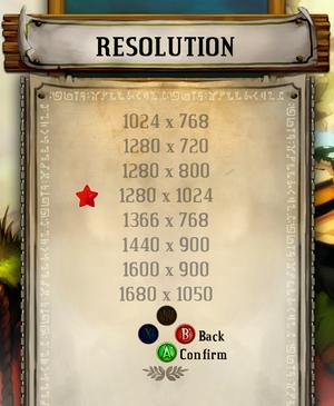 Resolution options.