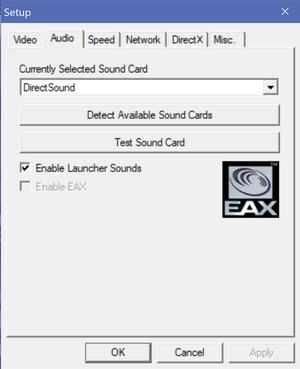 Launcher audio settings.