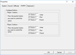 Joystick settings (Windows version).