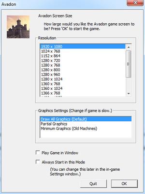 Start-up settings.