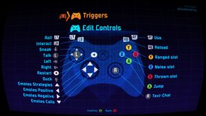 Default controller settings.