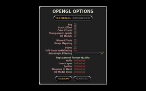In-game general OpenGL settings.