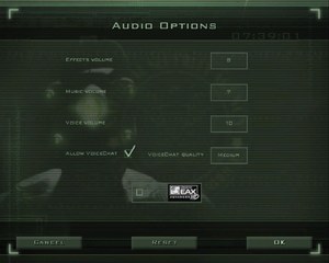 In-game audio settings (for Versus Mode).