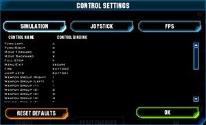 Key rebinding settings.