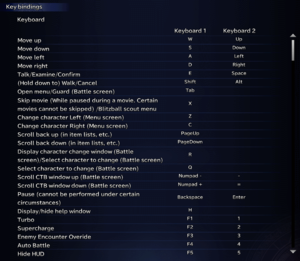Keyboard input settings for Final Fantasy X.