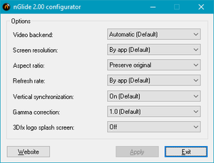 nGlide configurator settings. Access by opening <path-to-game>\nglide_config.exe.