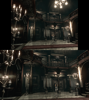 Widescreen comparison. Note how the chandelier in the top right corner is missing in the widescreen version. Because of this, purists should choose 4:3 mode.