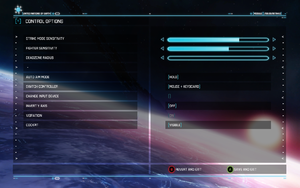In-game mouse and keyboard control settings.