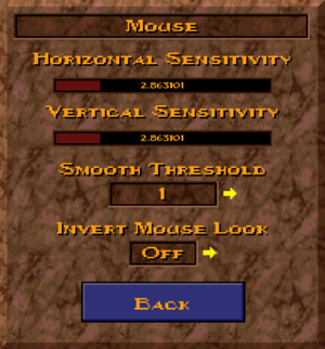 Mouse options.