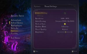 In-game visual settings.