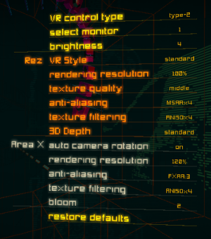 VR Settings