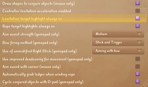 General control options.
