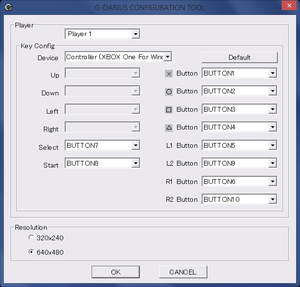Configuration tool for remapping controls and choosing resolution.