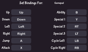 In-game gamepad bindings.