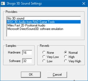 Audio Settings in Launcher.