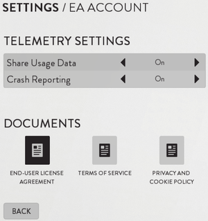 Network (EA Account) settings.