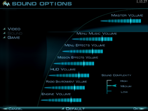 Audio settings (in-game).