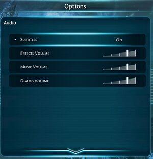 Audio menu.