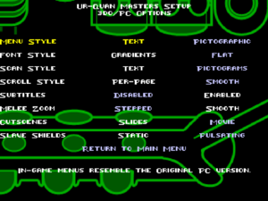 3DO/PC compatibility settings, including subtitles