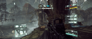 Crysis 3 displays in the 21:9 aspect ratio, but its UI is centred and obstructs the player's view.[3]