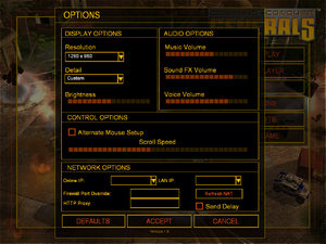 In-game options screen.