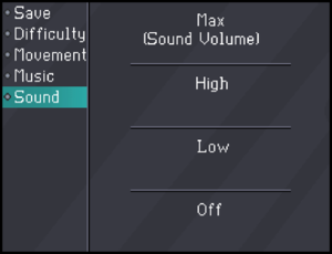 In-game sound volume settings.