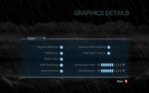 Graphics details settings.