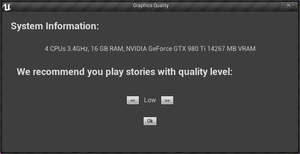 Launcher prompted when game is opened for the first time. Does not accept controller inputs.