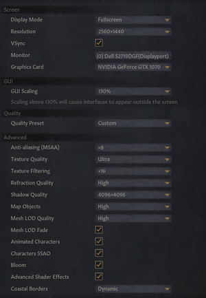 Graphics and display settings