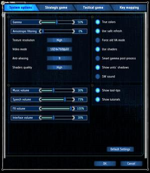 UFO: Aftershock system settings menu.
