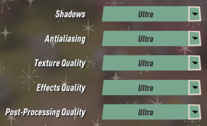 In-game effects settings.