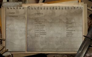 Condemned's graphics settings menu.