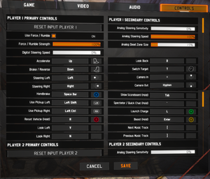 In-game Input Settings (there sections are repeated 3 more times for players 1-4)