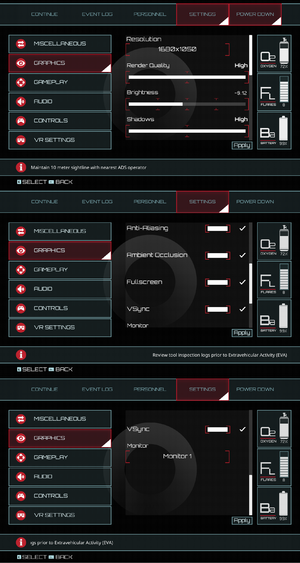 In-game graphics settings