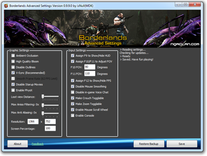 Borderlands Config Tool unlocks a number of settings not available in the in-game menu.