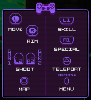 In-game gamepad controls (PlayStation).