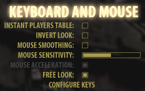 In-game general keyboard/mouse settings.