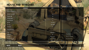In-game mouse and keyboard settings.