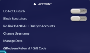 In-game account settings.