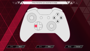 Gamepad mapping menu.
