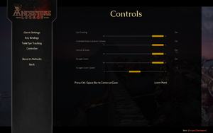In-game Tobii Eye Tracking settings.
