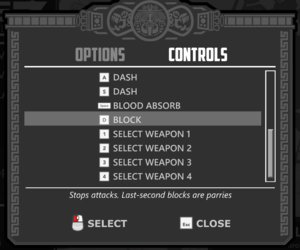 Controls-Remapping menu