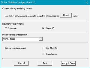 Configuration tool settings.