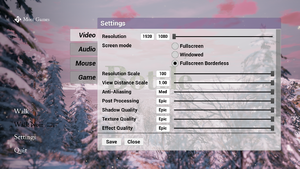 In-game video settings part 1.