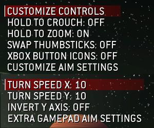 Control and sensitivity options.