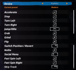 Keyboard controls settings