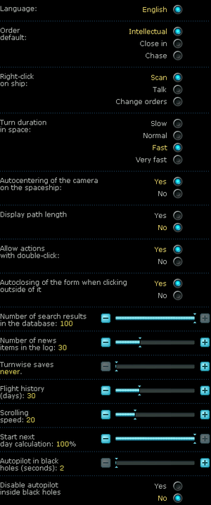 General settings from expansion.
