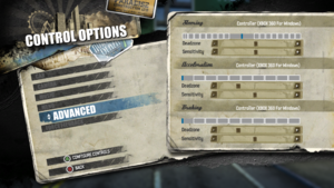 In-game advanced gamepad settings.