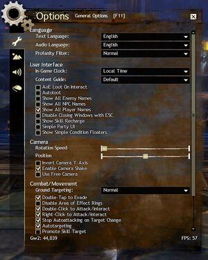 Upper video settings menu.