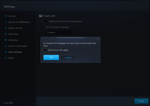 Changing the language through the Blizzard App. The download is approximately 250 MB to 325 MB for each language.